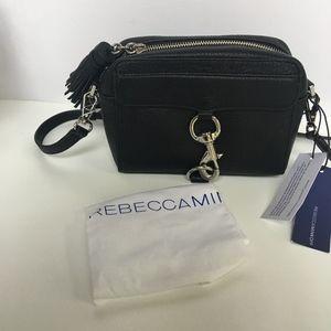 Mab Camera Black Leather Cross Body Bag